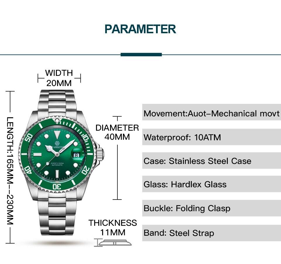verde fantasma relógio de moda relógio mecânico