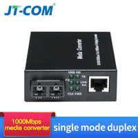 1 par 1000 m ftth conversor de mídia de fibra óptica sc rj45 único modo duplo gigabit fibra optica 1g1e/2e/4e/8e transceptor 20/40km
