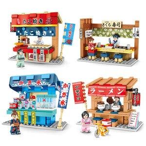 Image 2 - Sembo widok ulicy japońskiego baru przekąskowego Mini ulica miasta sklep sklep restauracja zestaw 3D Model bloki zabawki do budowania dla dzieci