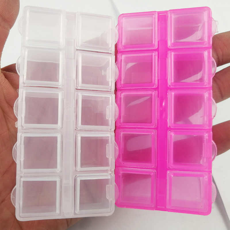 YHBZRET สี่เหลี่ยมผืนผ้าขนาดเล็ก 10 ตารางพลาสติกกล่องบรรจุภัณฑ์โปร่งใสเครื่องมือเครื่องประดับต่างหูลูกปัด Bin กรณี CRAFT Organizer
