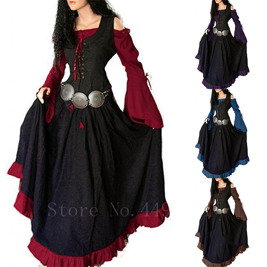 New Medieval Woman Vintage Evening Dress Renaissance Off Shoulder Irregular Lady Bell Sleeve Halloween Palace Princess Vestido