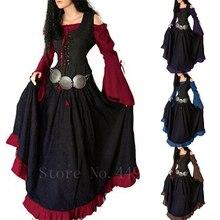 Evening-Dress Medieval Renaissance Princess Off-Shoulder Halloween Woman Bell-Sleeve