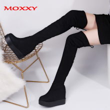 Thigh High Boots Platform Autumn Winter Boots Women Over the Knee Boots Suede Black Long Boots High Heels Fur Plush Shoes Woman купить недорого в Москве