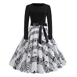 RICORIT Women Christmas Dress Swing Elegant Women Print Dress Party Dresses Long Sleeve Dress Vintage Women Dress Robe Plus Size 6