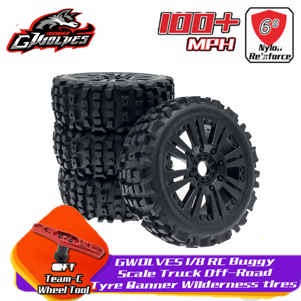 4pc GWOLVES 1/8 RC Buggy Scale Truck Off-Road Tyre Banner Wilderness Tires Glue Wheels Contest Practice For 1/8 RC Car Parts