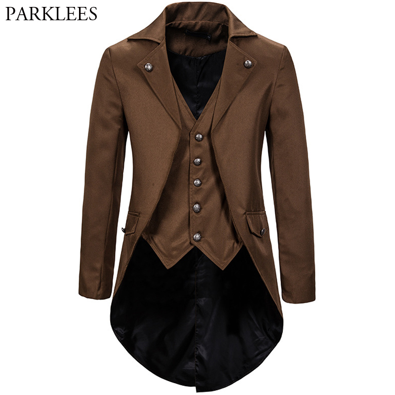 Retro Mens Gothic Blazers Jacket Coats Medieval Steampunk Men Blazer Fake Two Pieces Victorian Tuxedo Coat Men Cosplay Costume