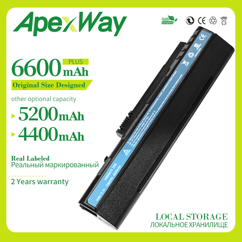 Apexway 6 Cell Black Laptop Battery For Acer Aspire One Zg5 A110 A150 D250 ZG5 P531h Series LC.BTP00.043 UM08A71 UM08A31 UM08A73