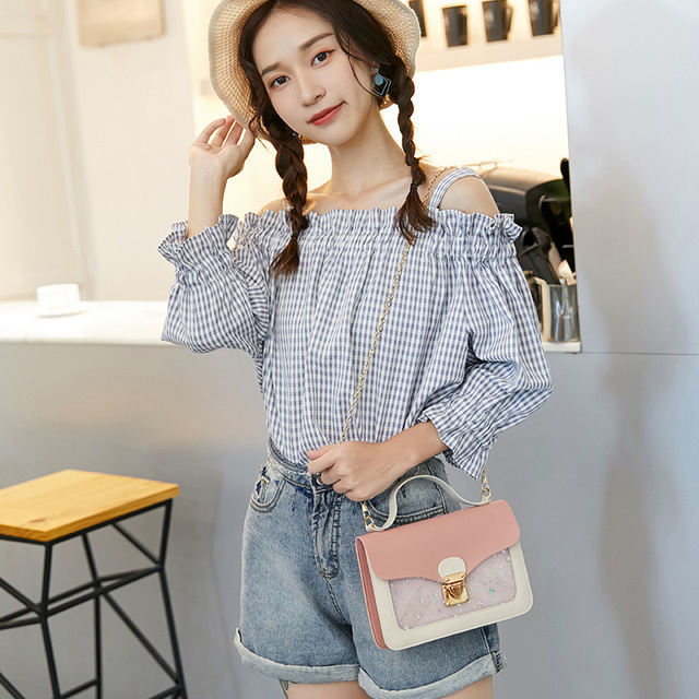 Women Mini Small Square Pack Shoulder Bag Fashion Star Sequin Designer Messenger Crossbody Bag Clutch Wallet Handbags Luggage & Bags
