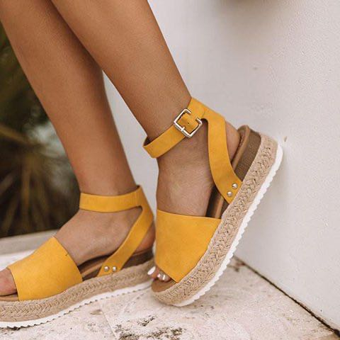 wish Amazon ebay new explosion models European and American foreign trade hemp rope wedge heel sole fish mouth sandals women(China)