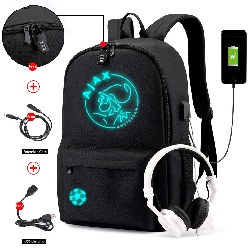 Anti-theft Luminous Canva Waterproof Backpack For Men AJAX Student School Backpack Teenagers Girl Boy Book Bag Capacity Mochilas