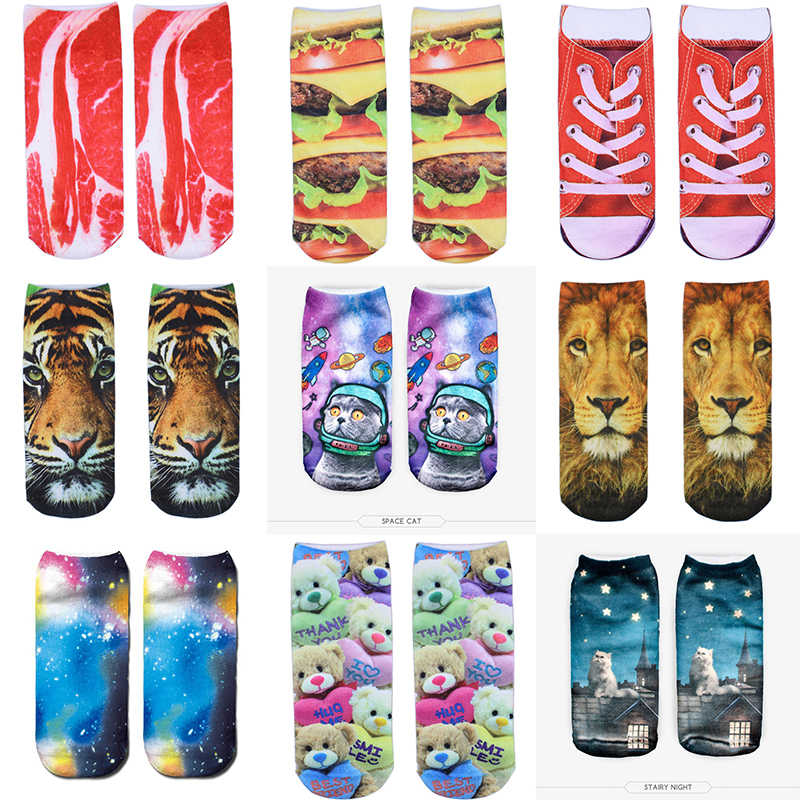 Fashion Cut Meat 2019 Unisex Ankle Socks 3D Low Printed Bacon 1Pair Autumn
