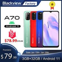 Blackview a70 smartphone 3gb + 32gb octa núcleo android 11 celular 13mp câmera traseira 6.517 waterwaterwaterdrop 5380mah 4g lte telefone móvel