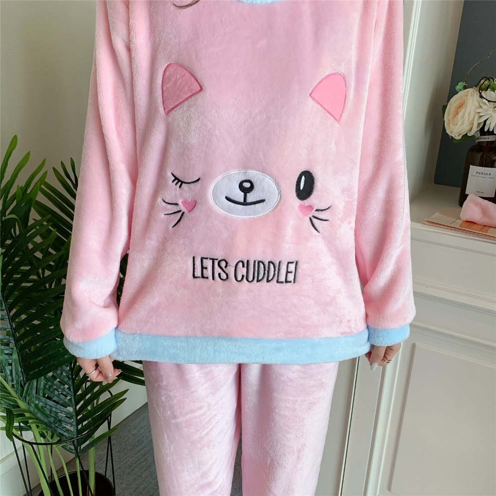 Betyline 2019 New Winter Pajamas For Women Sleepwear Warm Flannel Long Sleeves Pajamas Cute Animal Homewear Thick Homewear 144