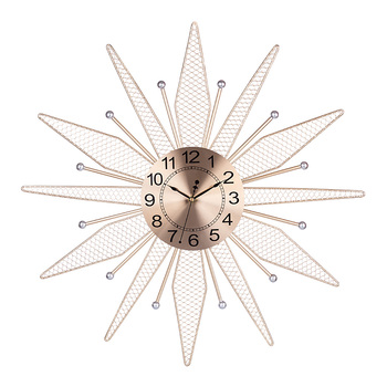 Homingdeco 60cm 24 Inches Creative Iron Wall Clock Silent Hollow Wall Clock for Home Decor Christmas gifts 2019  - Golden