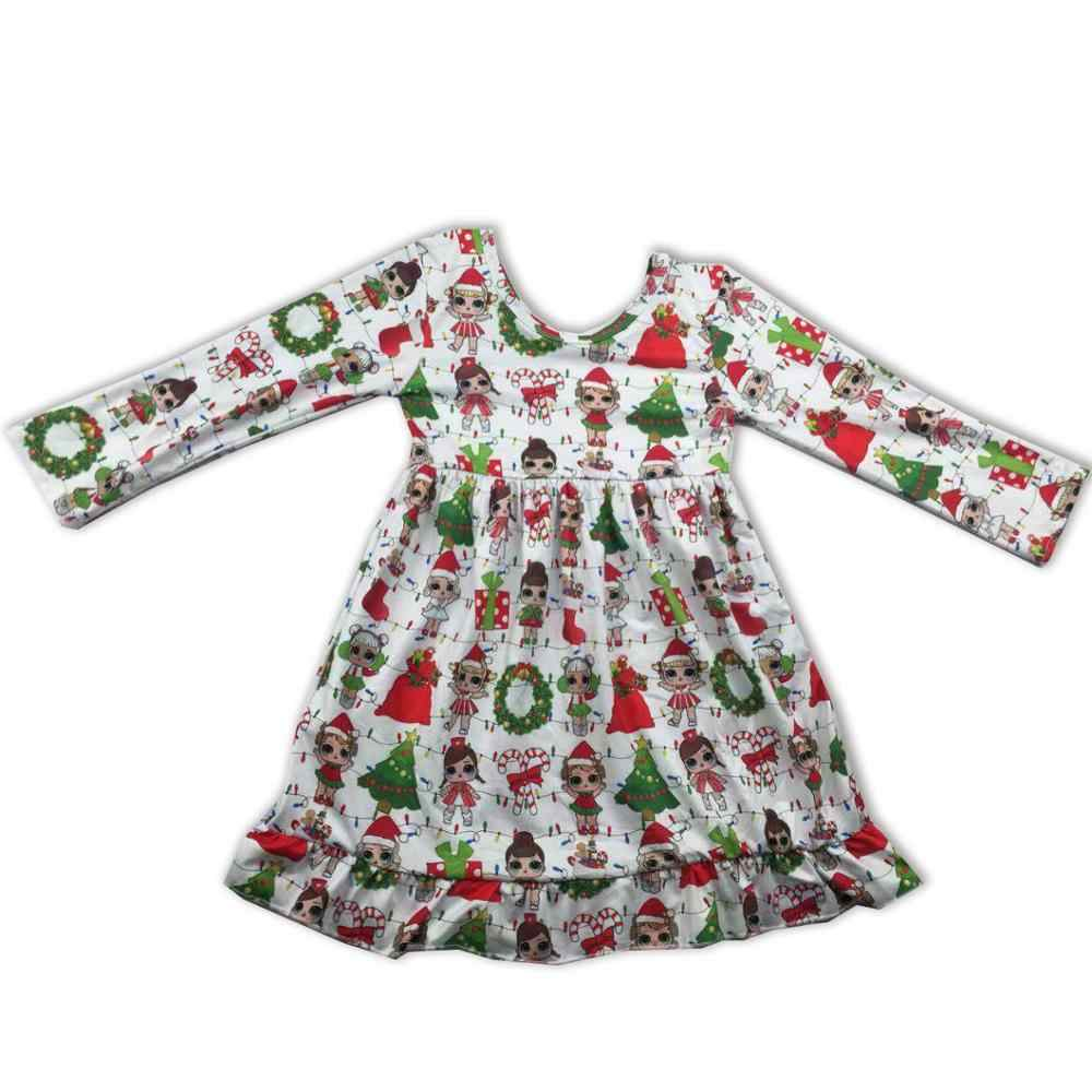 New Style Girls christmas Dresses Kids Boutique Clothing Baby Girl long sleeve Dress