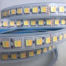 Cct led tira dupla branco quente branco & branco 2 em 1 chip 5050/5025 led fita cor tem ajustável dc12v/24v à prova d60 água 60 /120leds