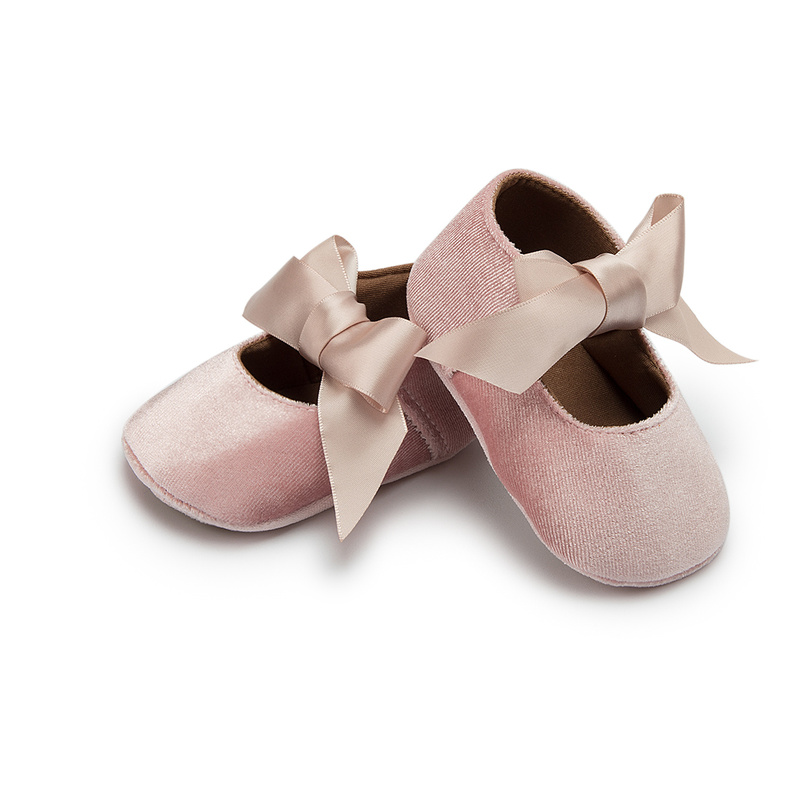 Baby Girl Princess Shoes Toddler Non-slip Flat Soft-sole Cotton Rubber Crib Lovely Butterfly-knot Infant First Walkers 0-18m 2