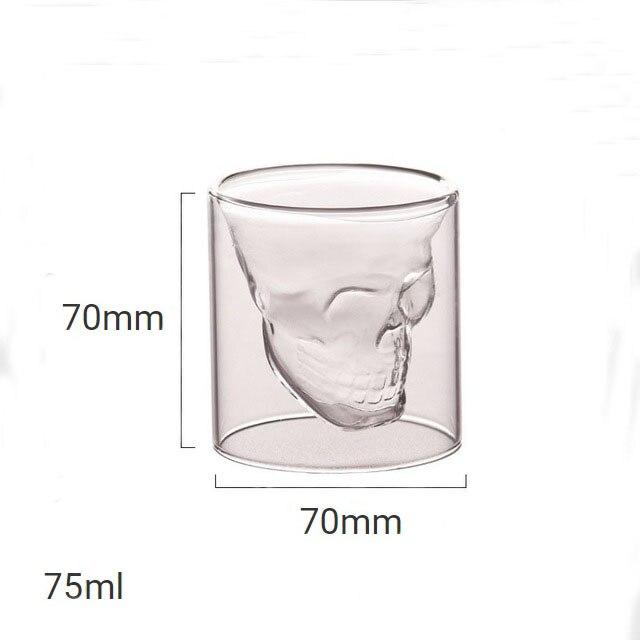 4 размера бренди двухслойный бокал для вина чашка пиратский череп голова прозрачная Хрустальная пивная кружка стопки для водки кофе Winebowl бар - Цвет: 75ml