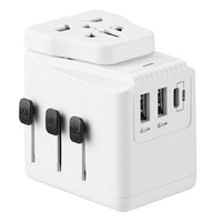 All in One Universal Travel Power Wall Charger 2500W AC Power Adapter With 3 USB Ports 3.6A Type C PD/QC3.0 Quick Charging