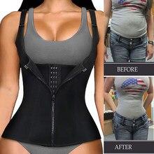 Mulheres cintura trainer espartilho zíper colete corpo shaper cincher shapewear emagrecimento cinto esportes cinto neoprene sauna tanque topo