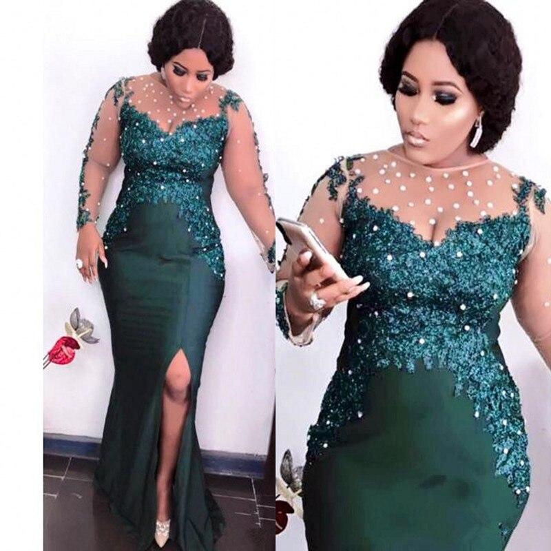 Hunter Green Sexy Evening Dresses 2020 Beaded Aso Ebi Arabic Illusion Long Sleeve Mermaid Sheer Neck Prom Reception Gown