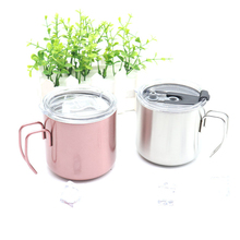 304 Stainless Steel Coffee Mugs 380ml Brief Milk Breakfast Cup Double Walled Eco-friendly Portable Outdoor Camping
