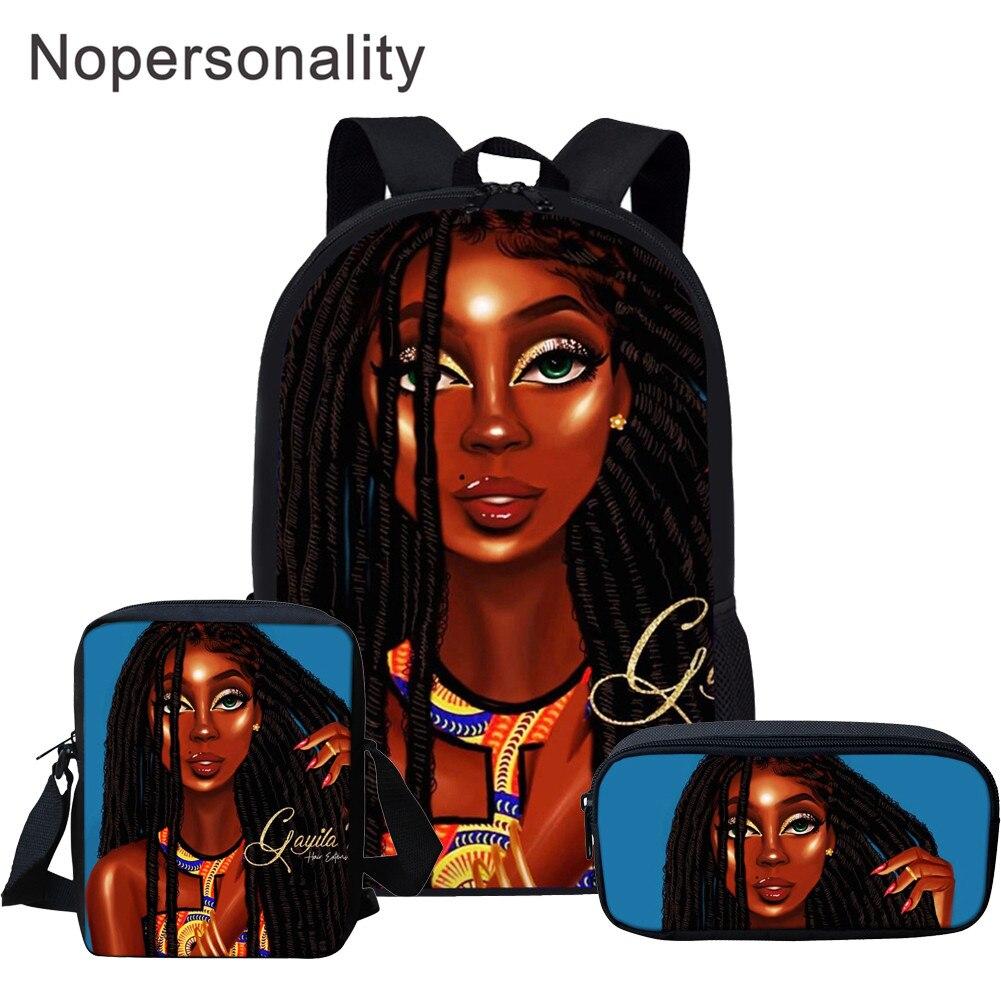 Nopersonality 3pcs/set African Book Bags Black Art Girls Lady Printing School Bag Set For Girls Teenage Schoolbags Satchel