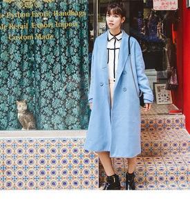 Image 3 - Abrigo liso de mezcla de lana con doble botonadura para mujer, chaqueta con bolsillos y cuello vuelto, abrigos largos azules informales para mujer