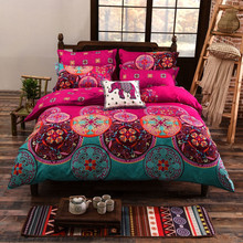Bohemian Oriental Bedding Set Pink Color Quilt Duvet Cover Single Queen King size 3pcs Mandala beddings dropshipping
