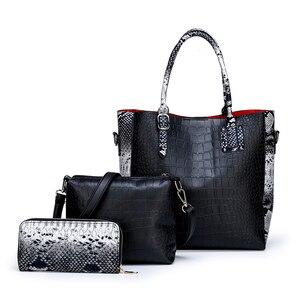 Image 4 - Conjunto de 3 piezas de lujo para mujer, bolsa de gran capacidad, bolso de hombro retro para mujer, bolso cruzado de cuero pu con billetera