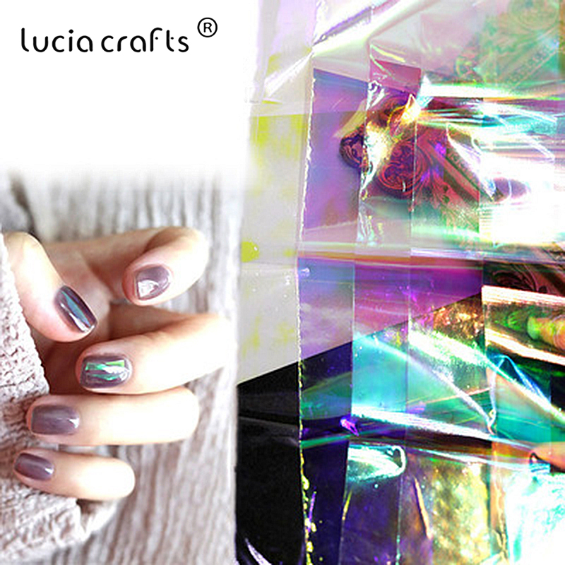 Colorful Glitter DIY Aurora Nails Glass Paper Foil Film Sticker 5x20cm DIY Craft Supplies Party Holiday Manicure Decor