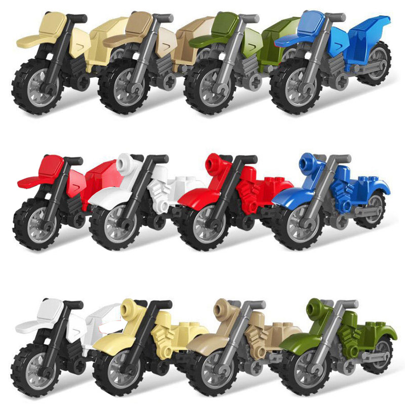 City Motorcycle Building Blocks Vehicles Accessories  Military Series Figures Bricks Toys For Kids