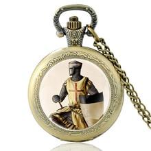 Pocket-Watch Crusaders Chain-Clock Pendant Necklace Glass Quartz Templar Retro Women