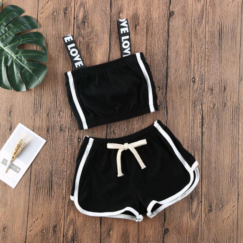2020 Baby Girls Kids Sunsuit Clothes Solid Color Sling Tops + Pants Summer Outfits Children Clothes Set Roupa Infantil Menina