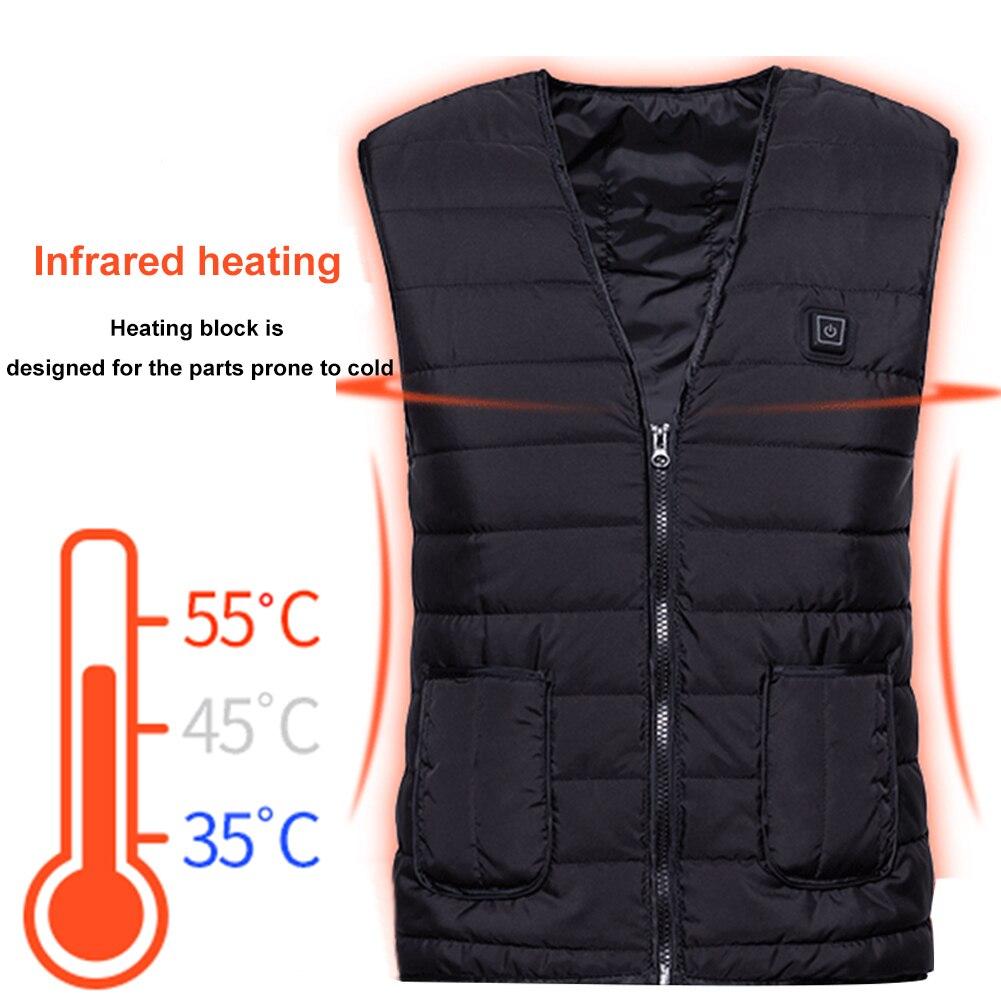 Women Men Three Grades Travel Winter Waistcoat Fishing Skiing Warm One Button Heating Vest Adjustable Washable USB Charging