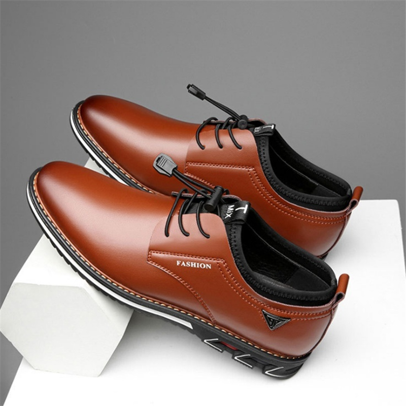 Newest Luxury Pointed Toe Casual Leather Shoes Men's Fashion Lace Up Business Dress Oxfords Solid Wedding Office Males Flats Man (7)
