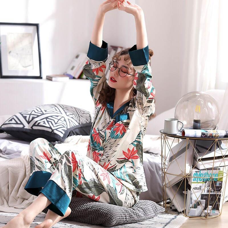 2019 Autumn And Winter New Ladies Pajamas Set Soft&Comfort Silk Satin Casual Turn-down Collar Long Sleeve+Pants 2Pcs Homewear