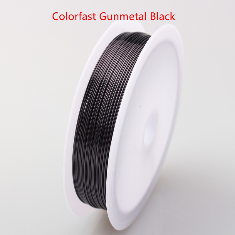 Четырехслойный разноцветный комбинезон серебро Медный провод для браслет Цепочки и ожерелья самодельные Украшения, Аксессуары 0,2/0,25/0,3/0,5/0,6/1,0 мм ремесло Бисер провода HK018 - Цвет: Colorfast Gun black