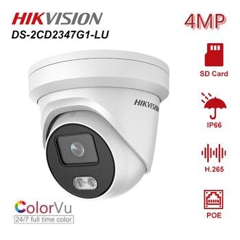 цена на Hikvision Original ColorVu 4MP PoE IP Camera DS-2CD2347G1-LU 24/7 Full Time Color Turret Network CCTV Camera Built-in Mic H.265