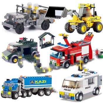 цена на City Fire Fighting Transport Dumper Excavator Truck Police Car Model Building Blocks Enlighten Bricks Toys For Children Boy Gift