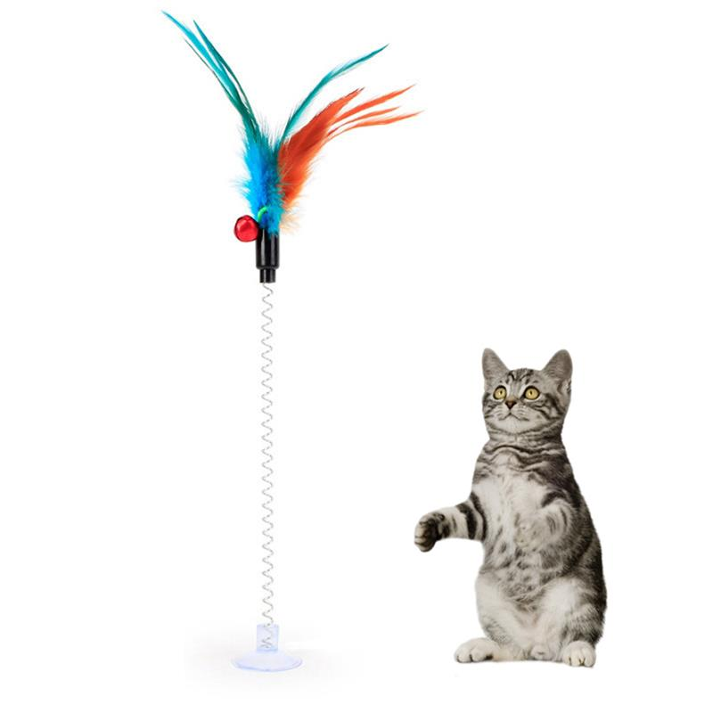 1Pc Funny Interactive Suction Spring Cat Toy Cat Feather Wand Cat Teaser Pet Interactive Supplies Cat Favor Random Color