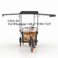 CE Proved solid wood electronic or pedal beer bike Mobile Cafe Three Wheel Bikes For Selling Coffee