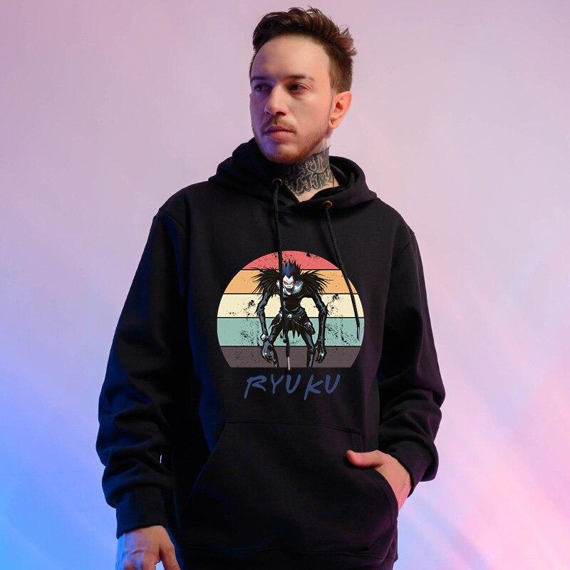 Hooded Hoodies Sweatshirt Men Streetwear Hoodie Death Note Black Sweatshirt For Men Sudaderas Mujer 2019 Hoody Men Long Sleeves