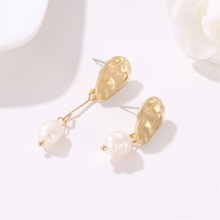 цены New Korean Version of Simple Temperament Pearl Woman Geometric Irregular Fashion Long Earrings Luxury Earrings