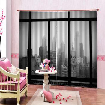 grey curtain building curtains 3D Blackout Curtains For Living room Bedding room Drapes Cotinas para sala