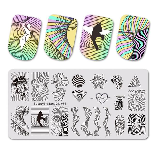 Beautybigbang Stamping Plates Nail Art Accessories Striped Lines Wave Heart Geometry Image Nails Stamping Print Template XL 085
