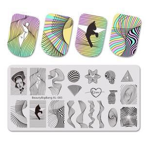 Image 1 - Beautybigbang スタンピングプレートネイルアートアクセサリーストライプライン波ハートジオメトリ画像爪印刷テンプレート XL 085