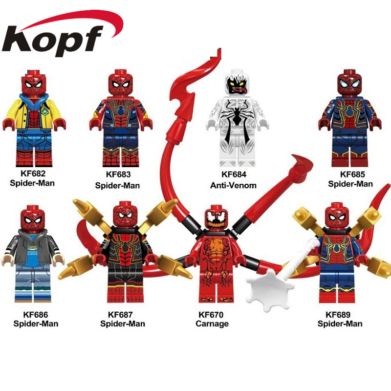 20pcs <font><b>KF6062</b></font> Super Heroes Building Blocks Spiderman Anti-Venom Captain Deadpool Carnage Action Figures For Kids Gift Toys Doll image