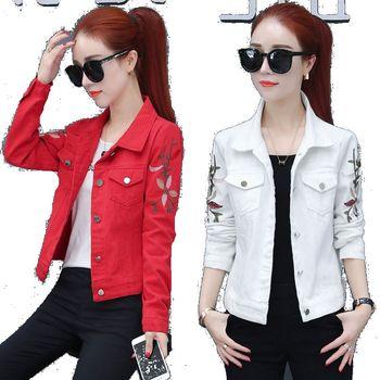 Korean Slim White Red Denim Jacket Women Embroidered Long Sleeve Coat Female Spring Cropped Jean Jackets Plus Size Manteau Femme 1