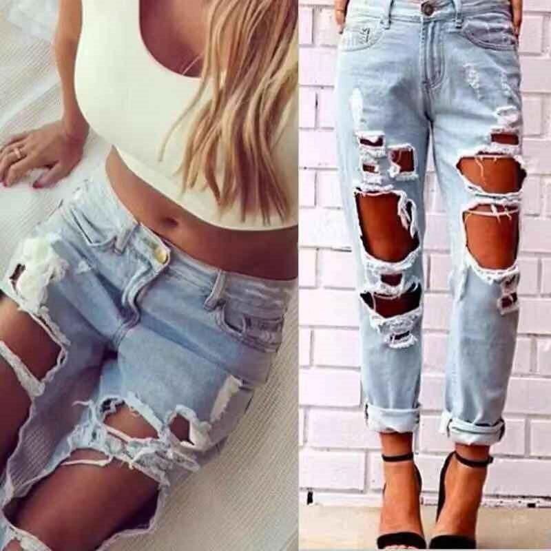 Women Hollow Out Pants Summer Hole Long Pants Blue Jeans